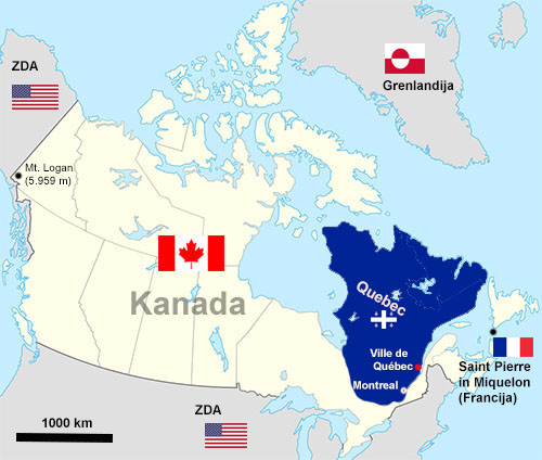 Quebec On Map Of Canada.Canadian Landmarks Kanada In Njeni Kraji Prostorski Atlas